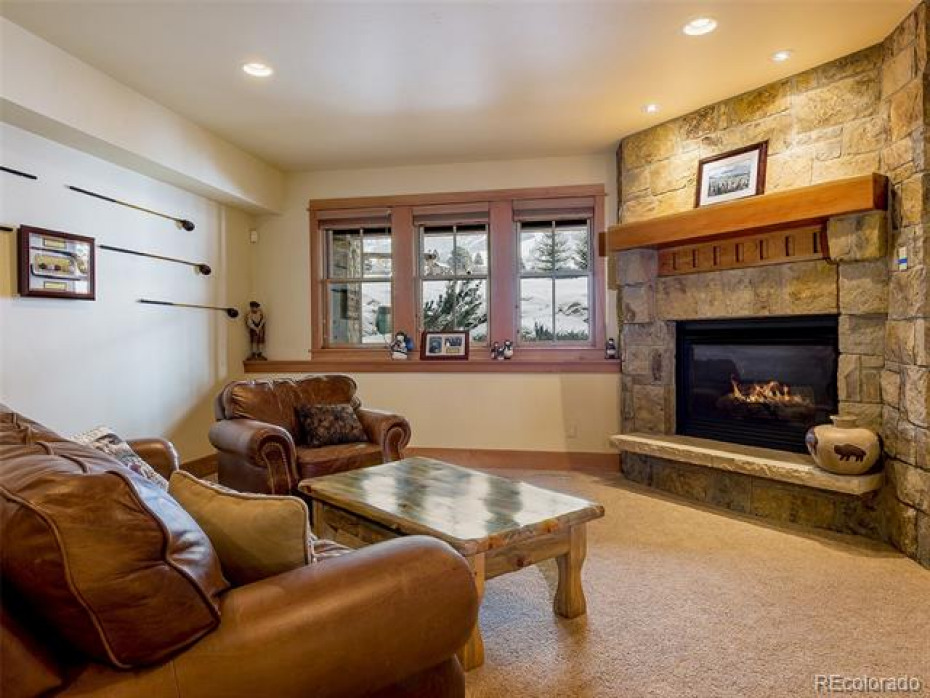 Versatile space in the family room offers a seating area...