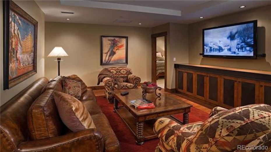 "Media Room with 60"" Flat Screen TV"