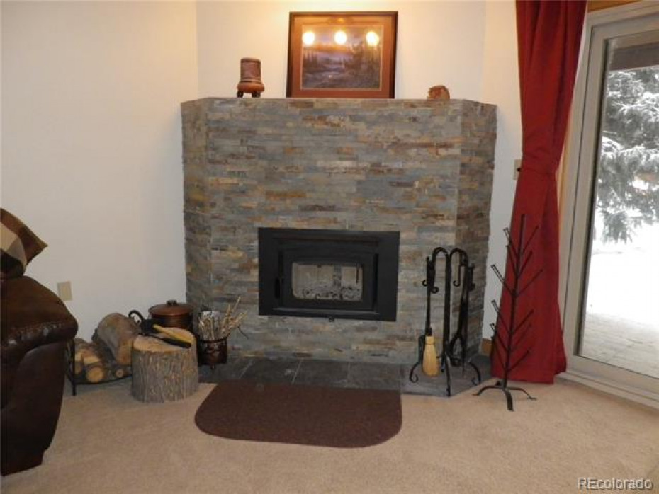 Wood fireplace and hearth