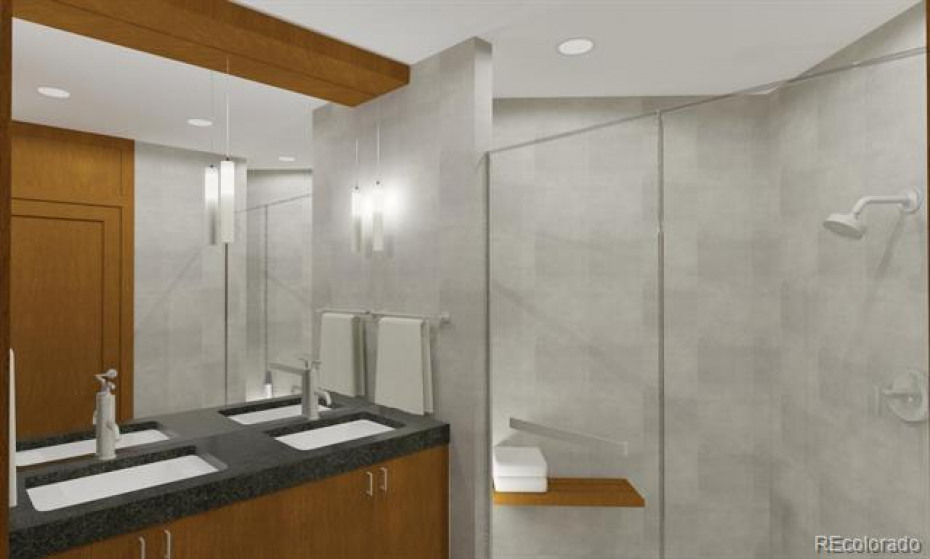 Digital Rendering, Lower Level Bath.  Note:  Some features may be slightly different including fixtures and wood tones.