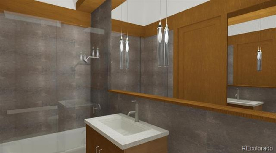 Digital Rendering.  Note:  Some features may be slightly different including fixtures and wood tones.
