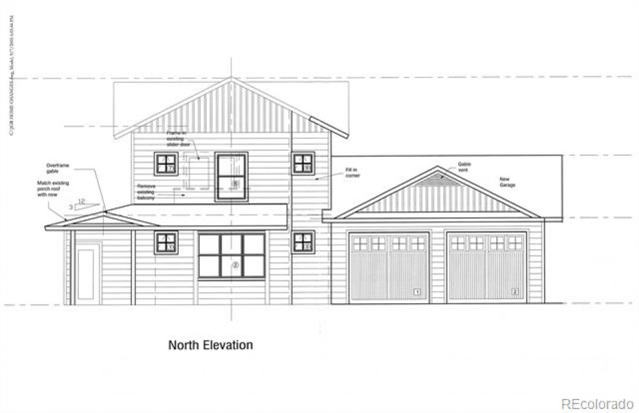 Architectural Plans for Proposed Improvements: Addition of oversized 2-car garage, convert existing garage to game room or master, wrap porch across front of home, add mud room off garage entry, larger closet for upstairs master, total approximately 500 additional SF