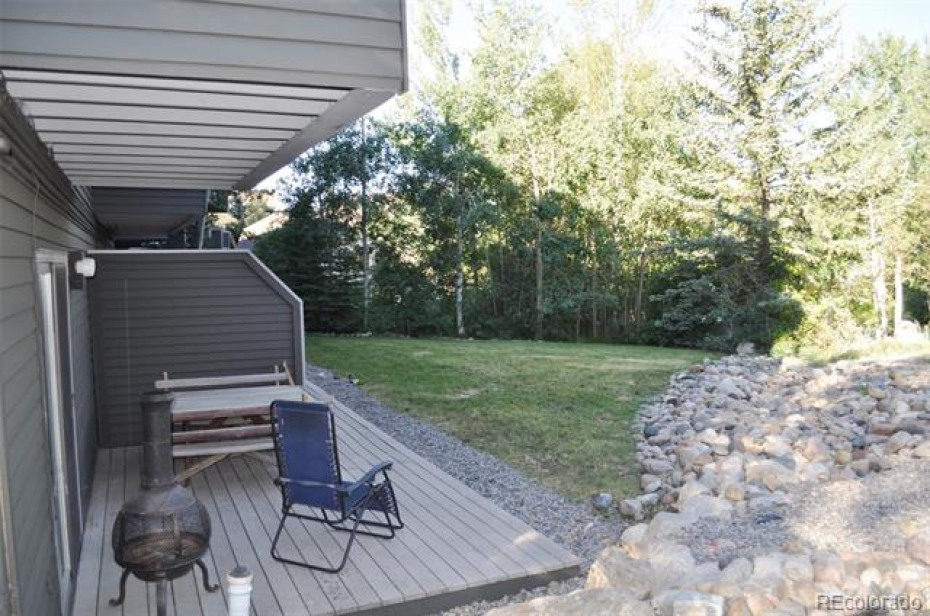 The back patio opens onto a grassy area, perfect for owner's dogs and sunset celebrations!