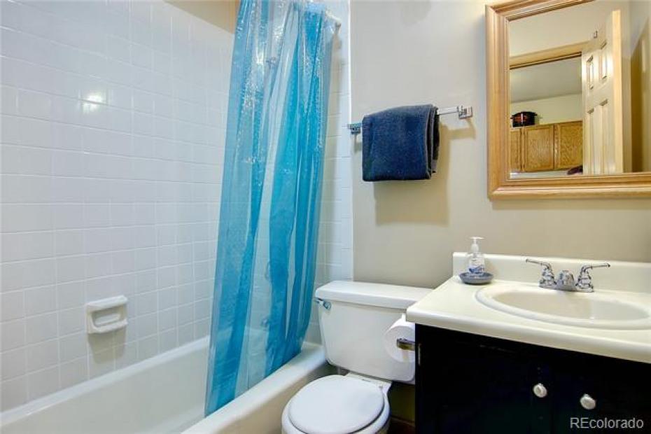 Full bathroom located in rec room / bonus area space.