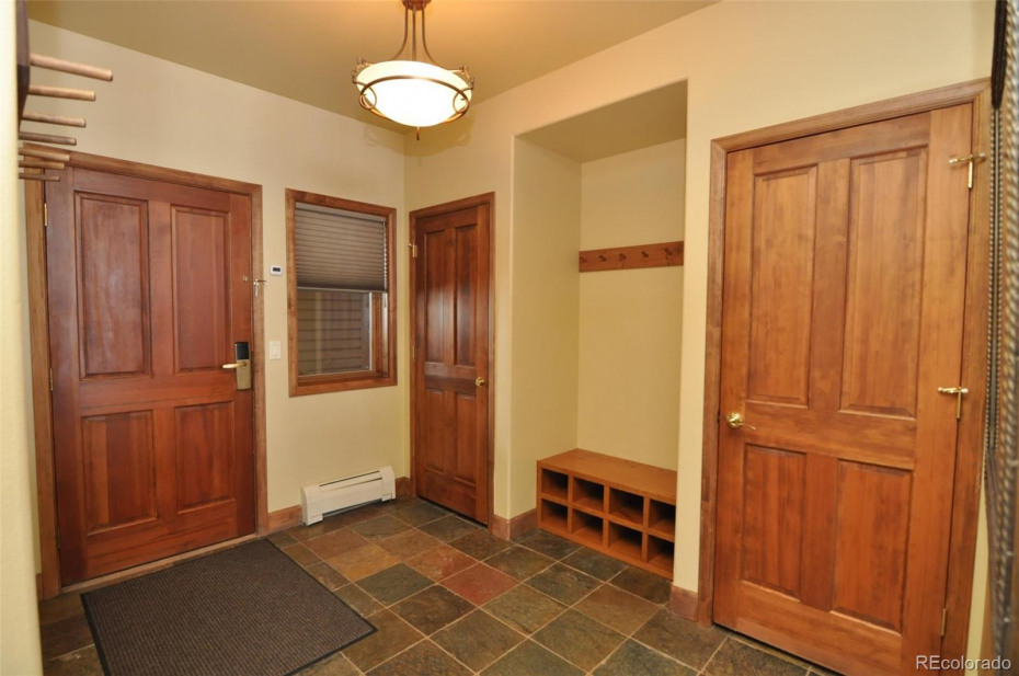 Two closets and lots of hooks and cubbies in the entry for storing your outdoor gear.
