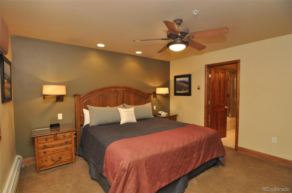 This bedroom with a king bed is on the main level.