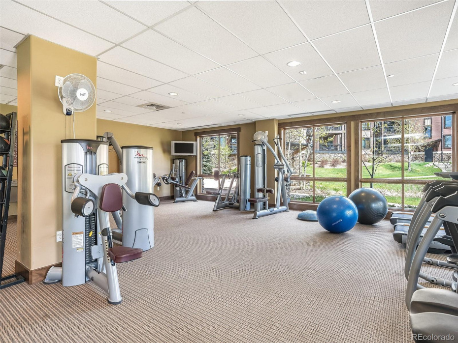 State of the art fitness center perfect for a workout or stretch after a day on the slopes.