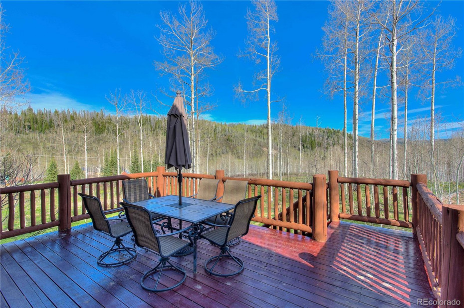 While enjoying meals on this deck you can't help but take in the views - and wait until the aspens start to leaf out the yard is stunning.