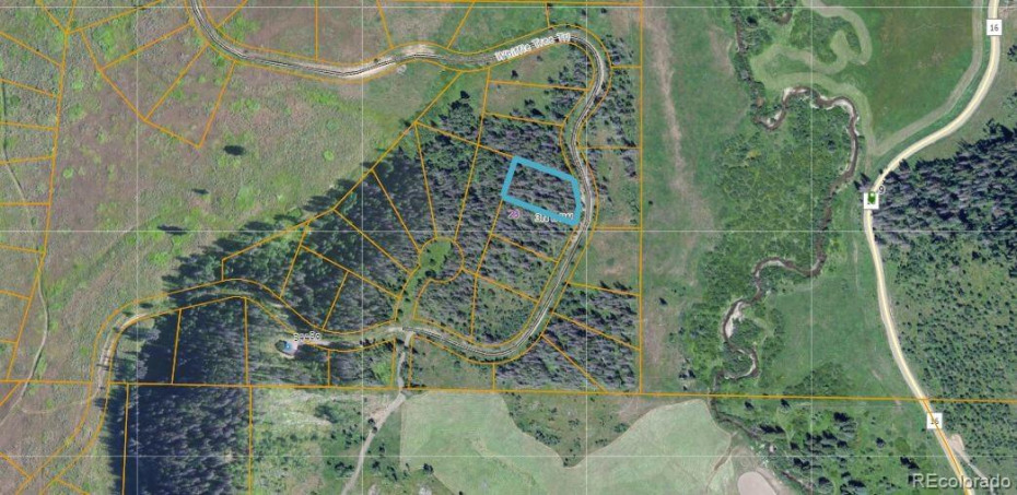 Satellite photo of the surrounding area of Lot 123 per Routt County Assessor's site.