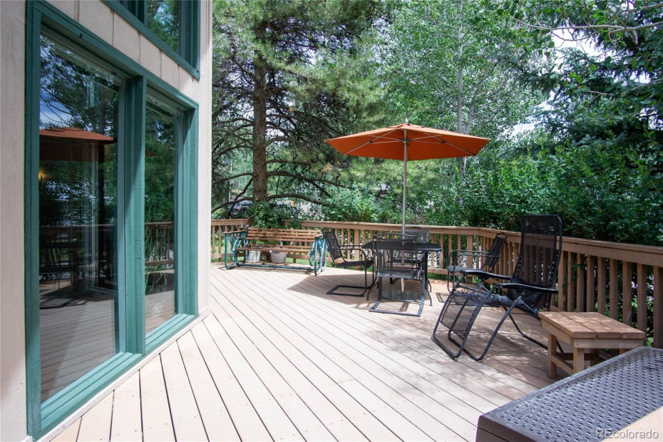 Front Deck Shaded and Protected by Mature Trees
