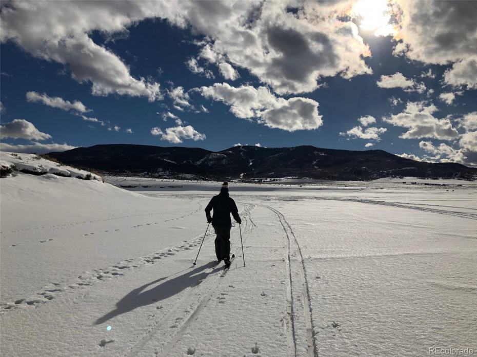 Cross country skiing in winter.