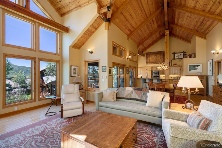 Great Room Living, Dining, Kitchen with views of Emerald Mtn.