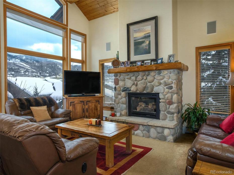 Cozy gas log fireplace