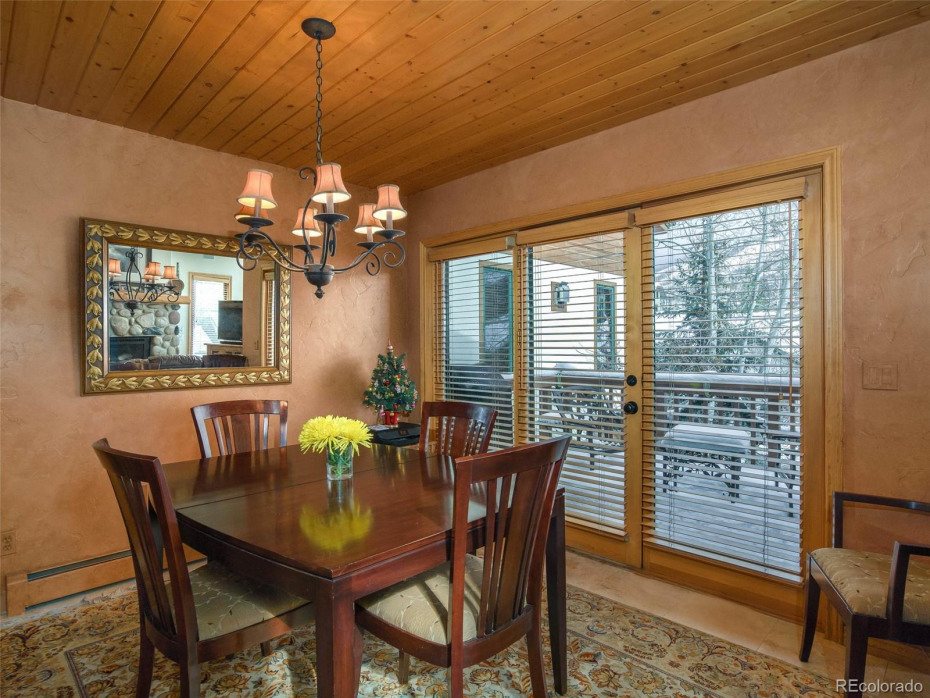 Nice deck off the dining area with  the ski area as your backdrop.