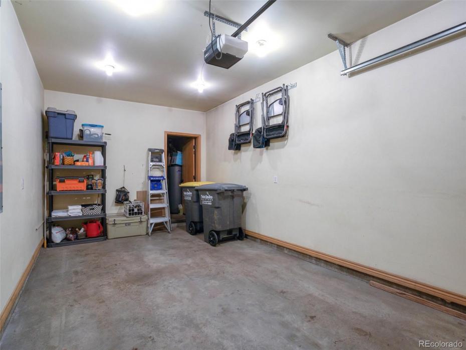 Garage with extra storage.