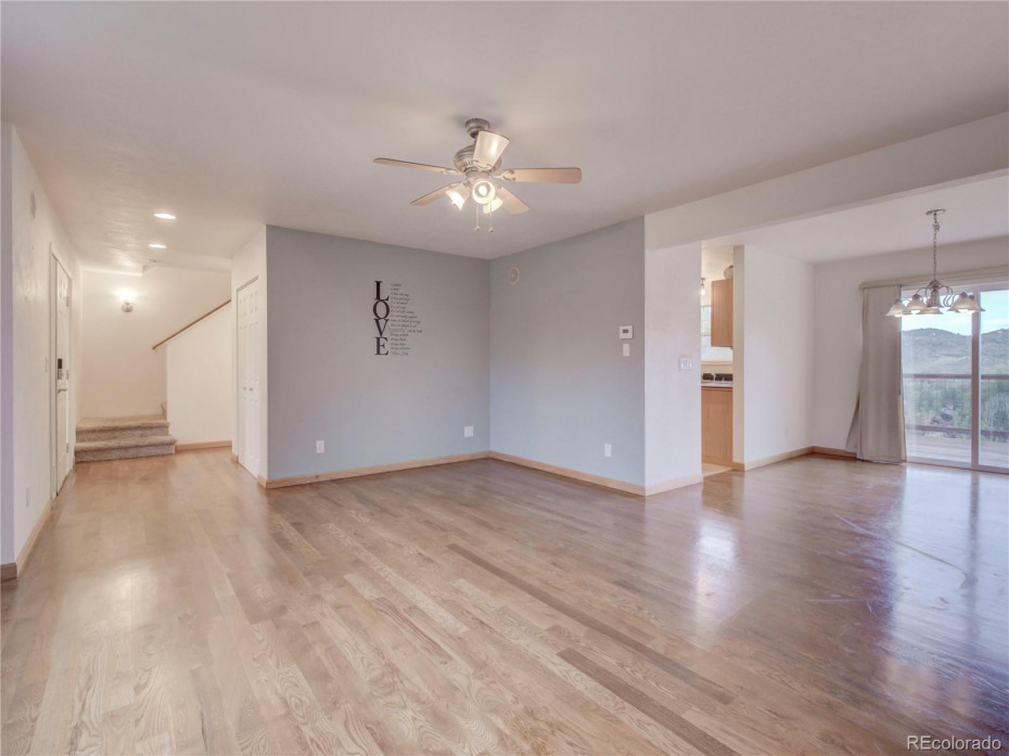 Entry way, living room, dining room