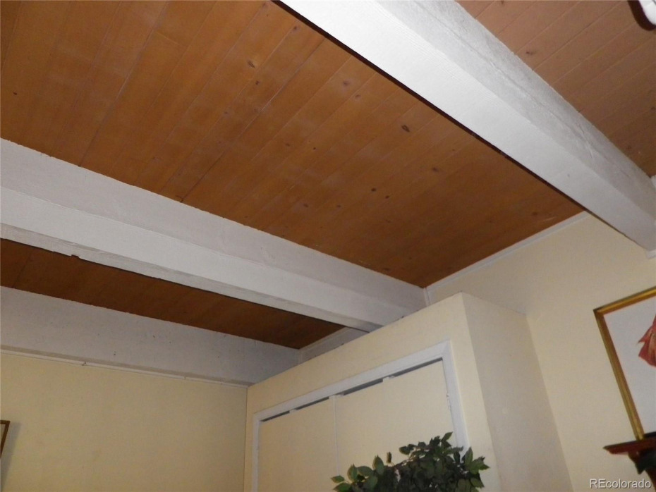Tongue and groove wood ceiling