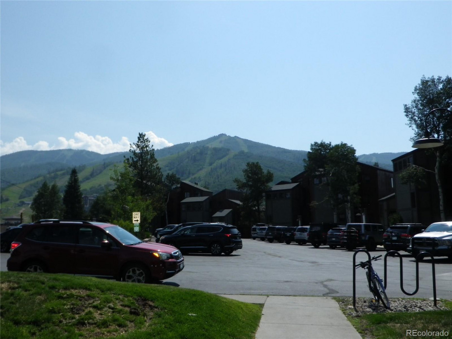 View of Ski area, from building entrance.