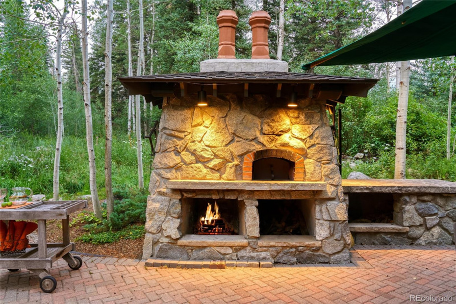 Outdoor fireplace and wood burning pizza oven