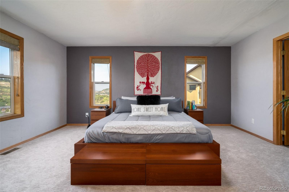 Spacious Main Level Primary Bedroom with views, private bath and walk-in closet