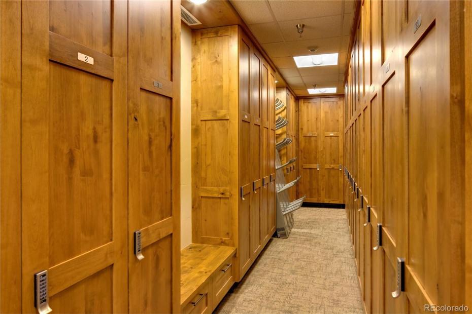 Private ski locker room at the Gondola
