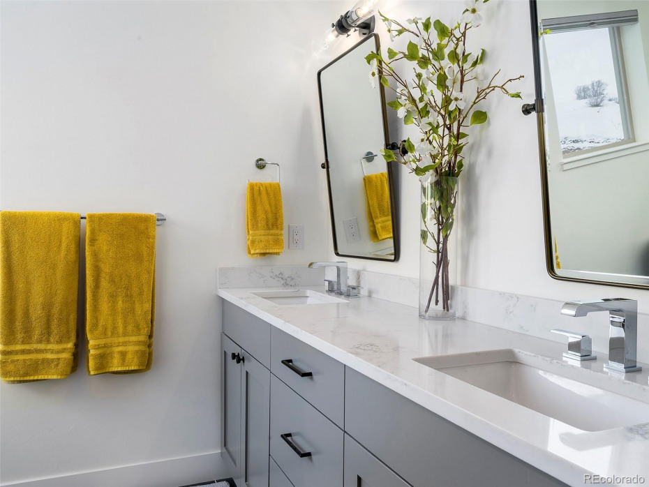 MODEL HOME Master bathroom. quartz counter-tops, painted cabinets: Dovetail (mirrors not included)