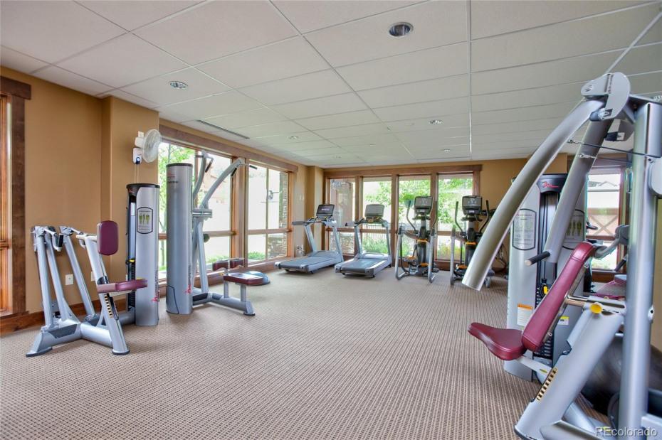 Fitness center with locker room