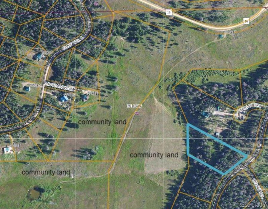 Lot 7 is outlined and community land is designated in photo.  CR 16 shows relation to lot.