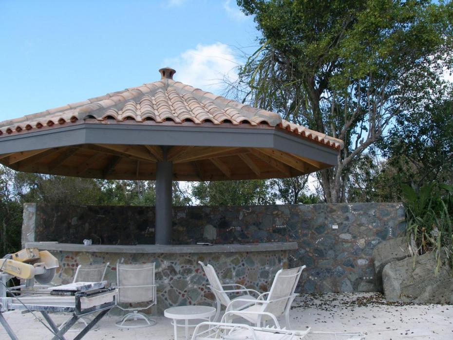 Brand new island stone pool gazebo