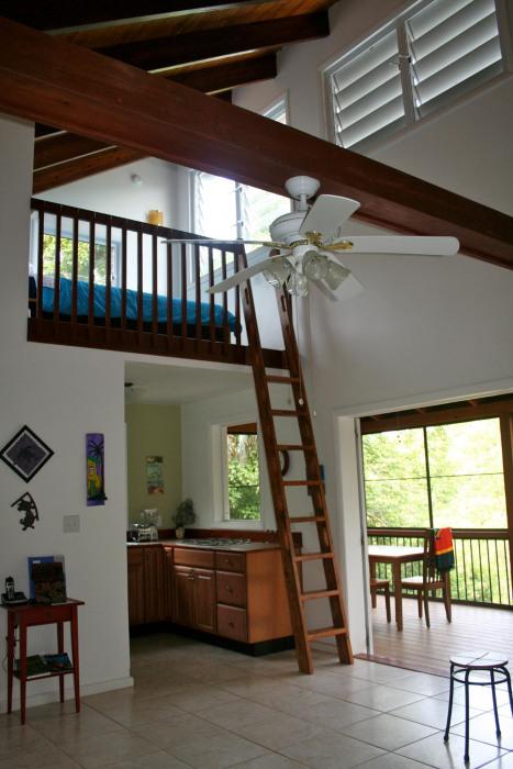 Living Room to  Kitchen to Loft Bedroom