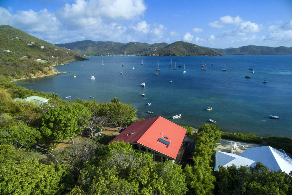Aerial overlooking Coral Bay