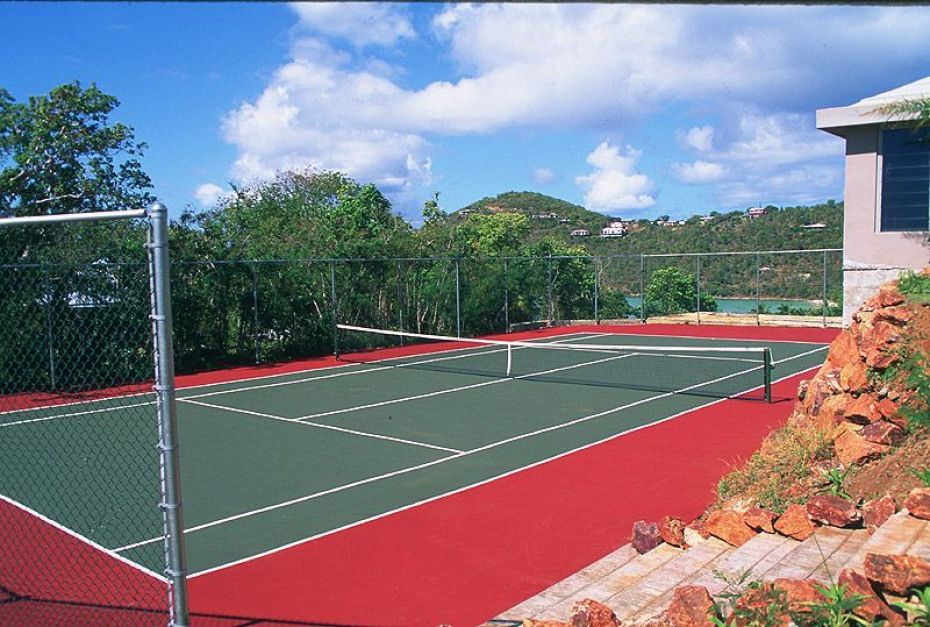 Tennis court with a view