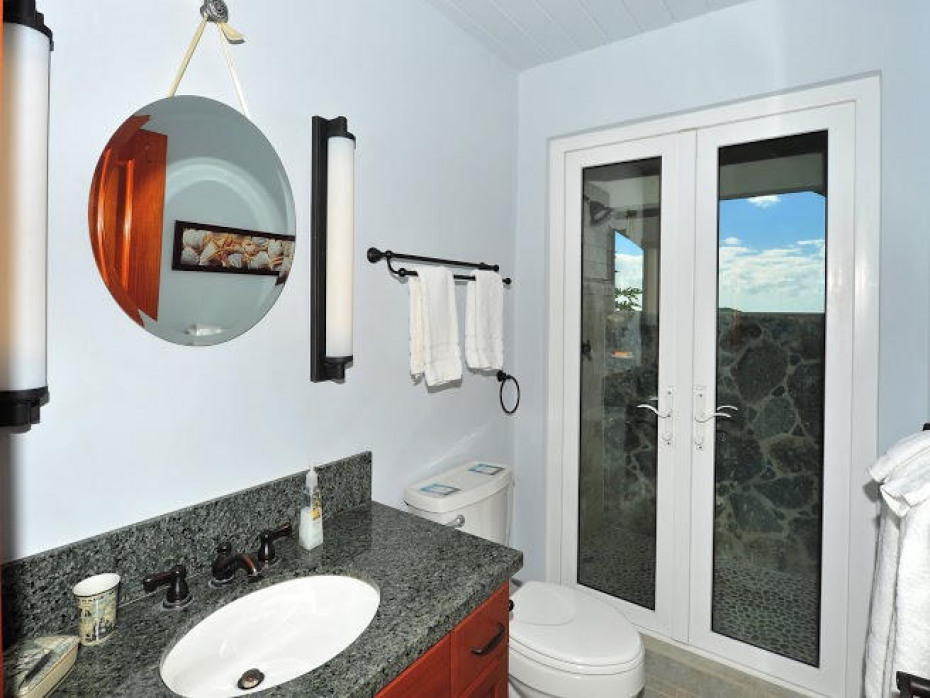 Bath with Stone Outdoor Shower