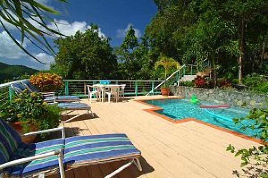 Very private pool & sun deck