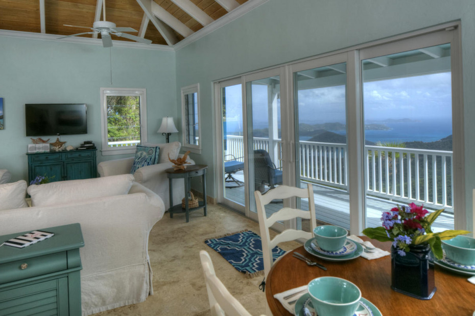 great room with BVI & Coral Bay views