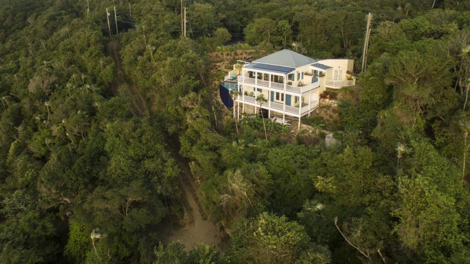 aerial picture of villa