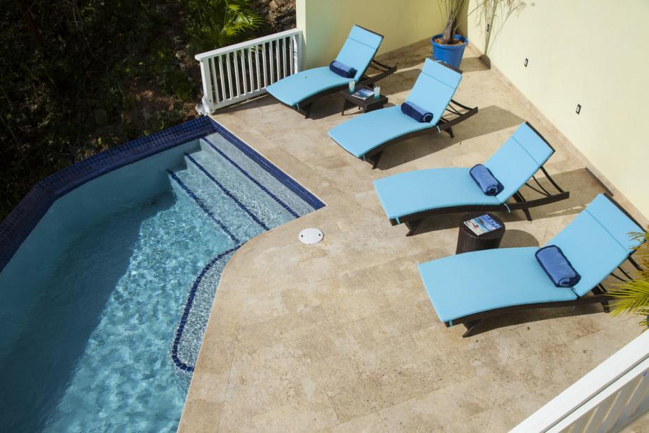 spcious decks surround pool