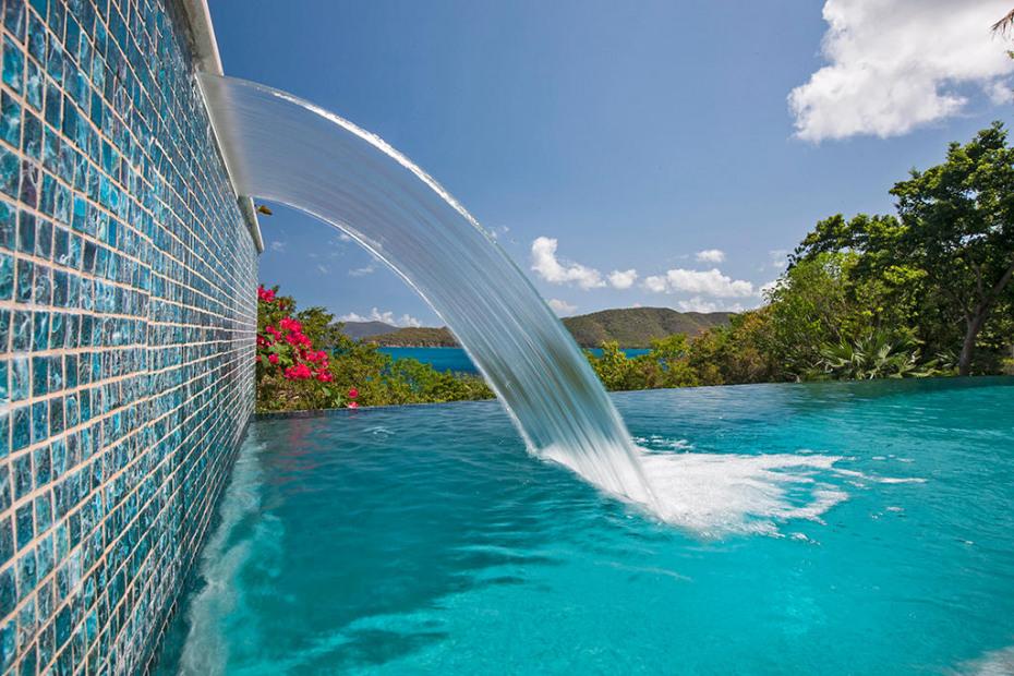 Elegant waterfall in pool