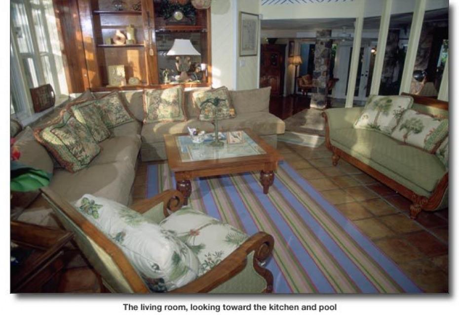 Living room, kitchen, pool