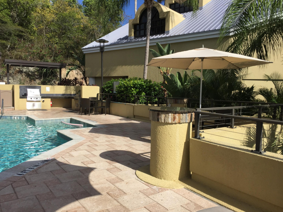 Pool deck with bar-b-que facilities