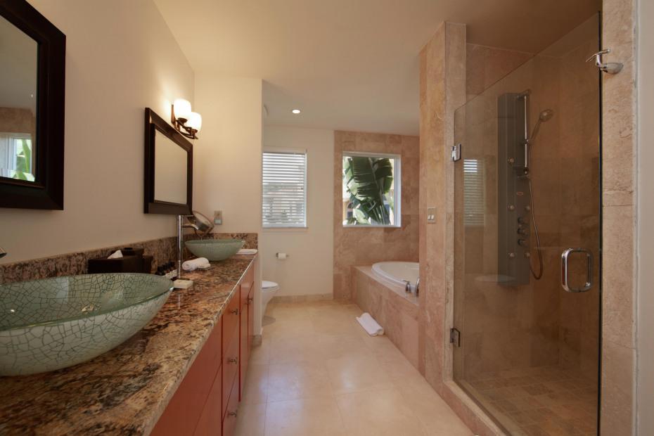 Walk-in glass shower in master bathroom