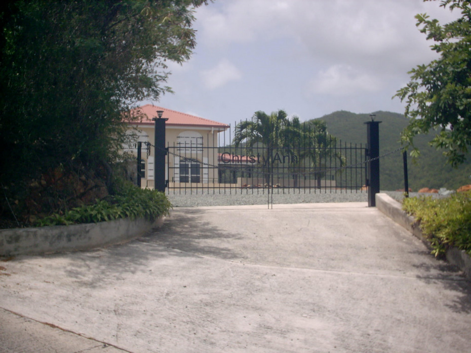 Gated entry to parking court