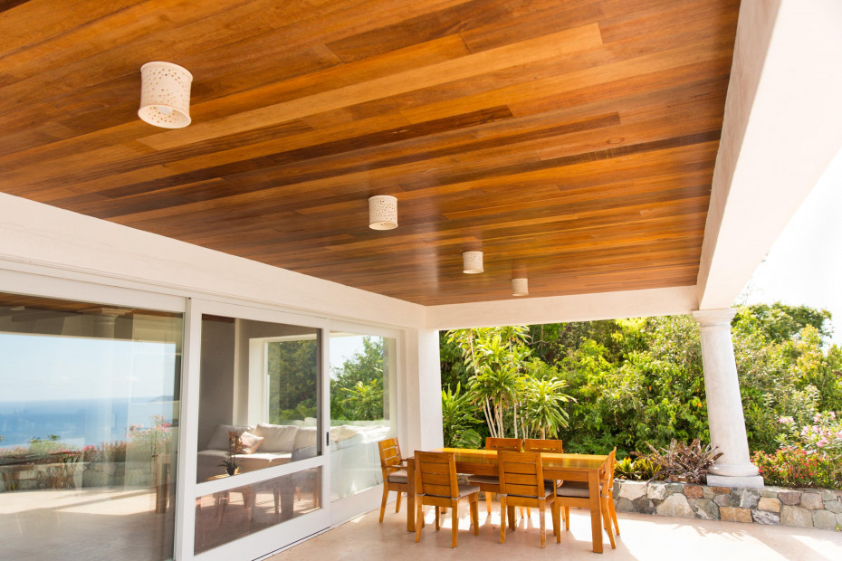 Tropical hardwood finishes throughout