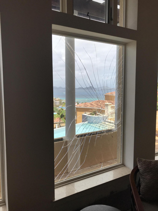 Cracked Window in Living Room