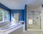 Corner soaking tub and walk-in shower.
