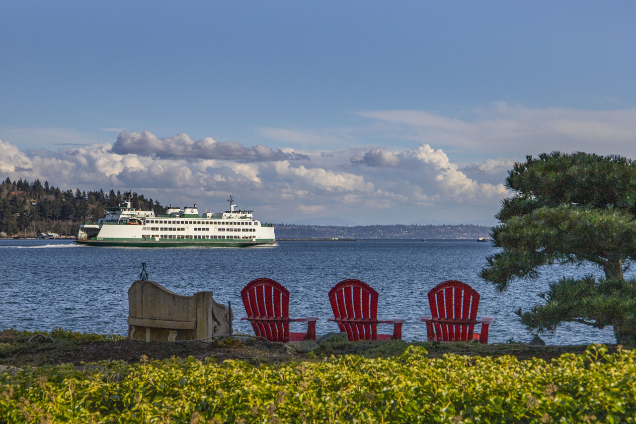 Watch the ferries glide by day and night.