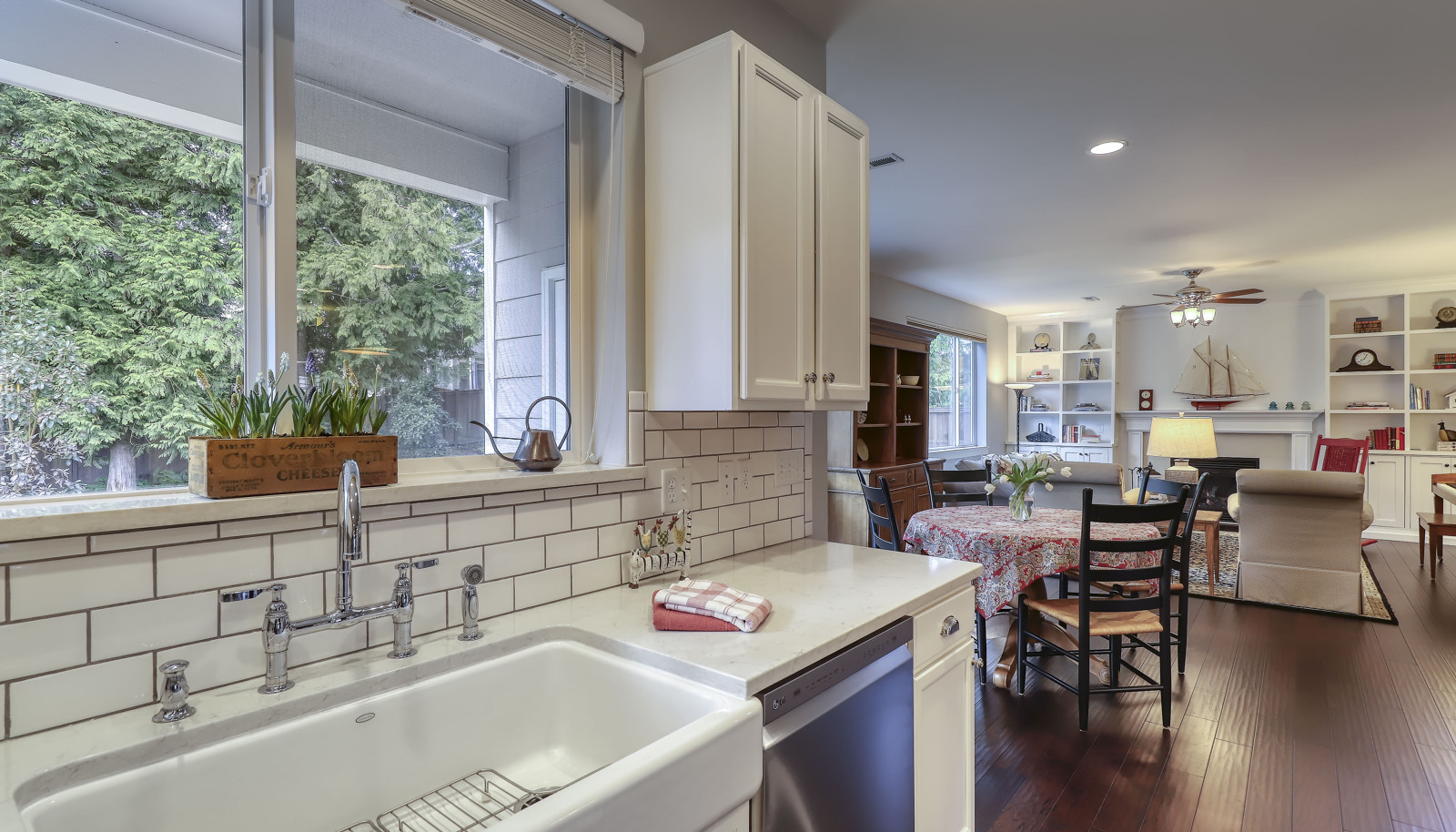 The stunning kitchen is open to the informal dining area and spacious living room!